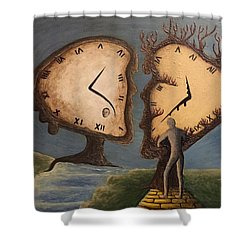 Shower Curtain featuring the mixed media Time Travel 2016 by Steve  Hester