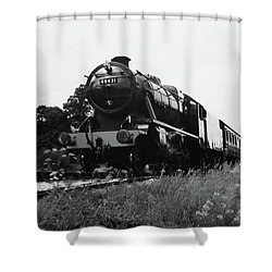 Shower Curtain featuring the photograph Time Travel By Steam B/w by Martin Howard