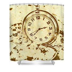 Time Worn Vintage Pocket Watch Shower Curtain