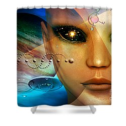 Shower Curtain featuring the digital art Timeless Traveller by Shadowlea Is