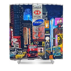 Times Square Shower Curtain by Autumn Leaves Art