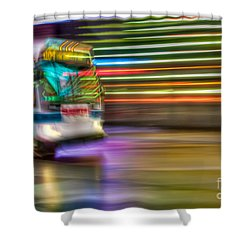 Times Square Bus Shower Curtain by Clarence Holmes