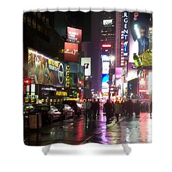 Times Square In The Rain 1 Shower Curtain by Anita Burgermeister