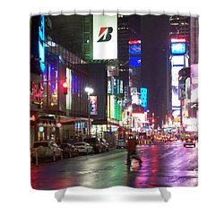 Times Square In The Rain 2 Shower Curtain by Anita Burgermeister