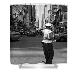 Times Square, New York City  -27854-bw Shower Curtain