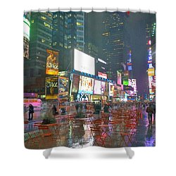 Times Square Red Rain Shower Curtain by Jeffrey Friedkin
