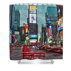 Shower Curtain featuring the digital art Times Square Tables by Timothy Lowry