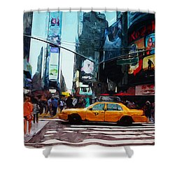 Times Square Taxi- Art By Linda Woods Shower Curtain by Linda Woods