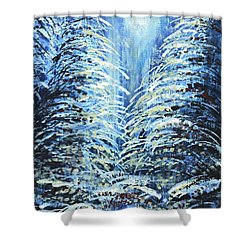 Shower Curtain featuring the painting Tim's Winter Forest by Holly Carmichael