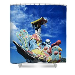 Tin Hua Temple Closeup Of Colorful Statue Shower Curtain by Gloria and Richard Maschmeyer - Printscapes