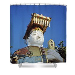 Tin Hua Temple Colorful Statue Shower Curtain by Gloria and Richard Maschmeyer - Printscapes