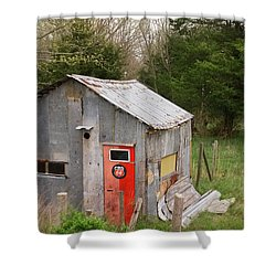 Tin Phillips 66 Shed Shower Curtain by Grant Groberg