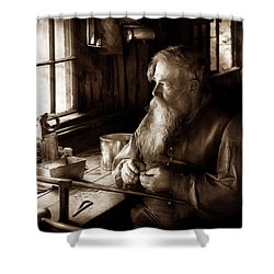 Tin Smith - Making Toys For Children - Sepia Shower Curtain by Mike Savad