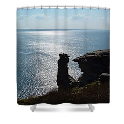 Tintagel Stack Cornwall Shower Curtain