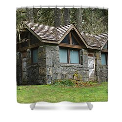Tiny House In The Woods Shower Curtain by Angi Parks
