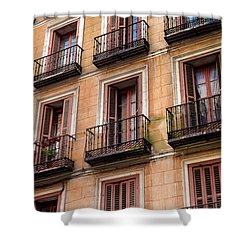 Shower Curtain featuring the photograph Tiny Iron Balconies by T Brian Jones