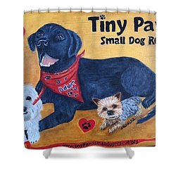 Tiny Paws Small Dog Rescue Shower Curtain by Sharon Schultz