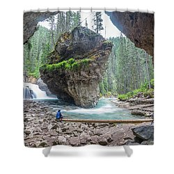 Tiny People Big World Shower Curtain by Alpha Wanderlust