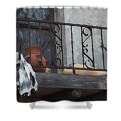 Shower Curtain featuring the digital art Tiny Southwest Balcony by Shelli Fitzpatrick