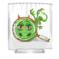 Shower Curtain featuring the painting Tiny Teeny Little Dragon by Irina Sztukowski