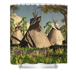 Tipis In The Trees Shower Curtain by Walter Colvin