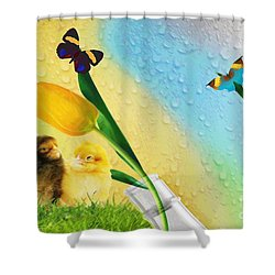 Tiptoe Through The Tulips Shower Curtain by Liane Wright