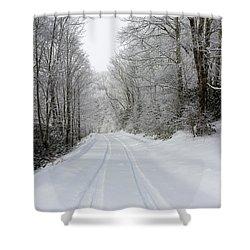 Tire Tracks In Fresh Snow Shower Curtain