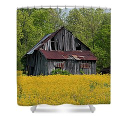 Shower Curtain featuring the photograph Tired Indiana Barn - D010095 by Daniel Dempster