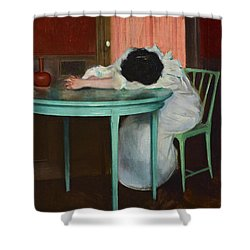 Shower Curtain featuring the painting Tired by Ramon Casas