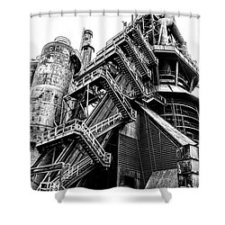 Titan Of Industry - Bethlehem Steel Mill In Black And White Shower Curtain by Bill Cannon