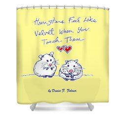 Shower Curtain featuring the drawing Title Page For Hamster Book by Denise Fulmer