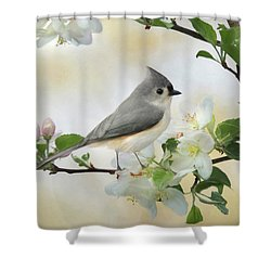 Shower Curtain featuring the mixed media Titmouse In Blossoms 1 by Lori Deiter