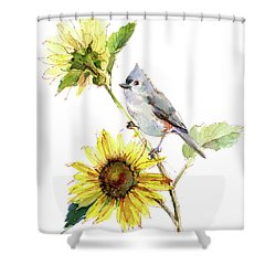 Titmouse With Sunflower Shower Curtain