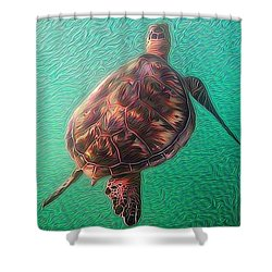 Tito The Turtle Shower Curtain by Erika Swartzkopf