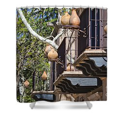 Shower Curtain featuring the photograph Tlaquepaque Balconies by Chris Dutton