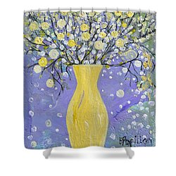 Shower Curtain featuring the painting To Brighten Your Evening by Evelina Popilian