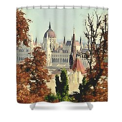 To Budapest With Love Shower Curtain