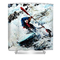 To Conquer White Water Shower Curtain by Hanne Lore Koehler