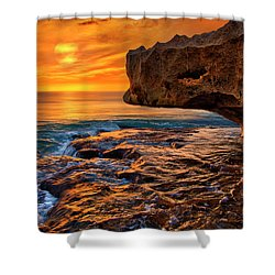 To God Be The Glory - Sunrise Over Ocean Reef Park On Singer Island Florida Shower Curtain