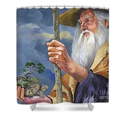 To Hold The World In The Palm Of Your Hand Shower Curtain by J W Baker