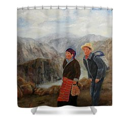 To Market Shower Curtain by Roseann Gilmore