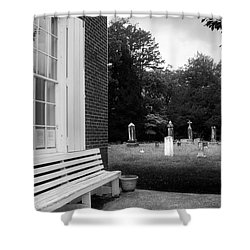 To Rest And At Rest In Black And White Shower Curtain