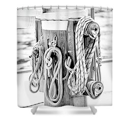 To Sail Or Knot Shower Curtain by Greg Fortier