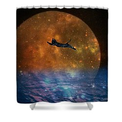 To The Moon And Back Cat Shower Curtain