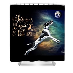 Shower Curtain featuring the digital art To The Moon by Kathy Tarochione
