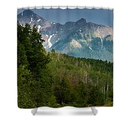 To The Mountains Shower Curtain by Jay Stockhaus