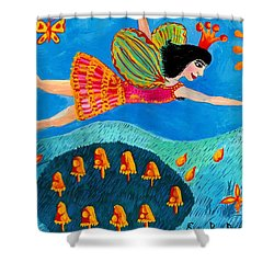 Toadstool Fairy Flies Again Shower Curtain by Sushila Burgess