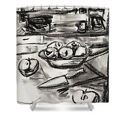 Apples At Breakfast Shower Curtain