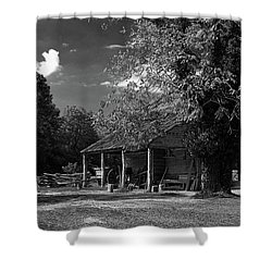 Tobacco Barn - B-w Shower Curtain by Christopher Holmes