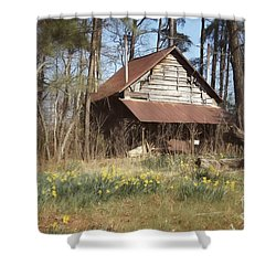 Shower Curtain featuring the photograph Tobacco Barn In Spring by Benanne Stiens
